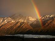 Rainbow over the Matanuska Glacier, Glacier View, Alaska.