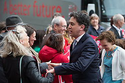© Licensed to London News Pictures . 06/05/2015 . Leeds , UK . The leader of the Labour Party , Ed Miliband, arrives with his wife Justine Thornton at Leeds City Museum ahead of an election rally , on the eve of polls opening for the 2015 British general election . Photo credit : Joel Goodman/LNP