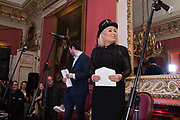 KIM WILDE, Literary Review Christmas party and Bad SEx Awards. In and Out club. St. James Sq. London. 3 December 2018