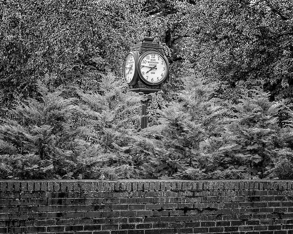 The famous Kalnen Court Clock on the University of Mary Washington campus in Fredericksburg, VA.