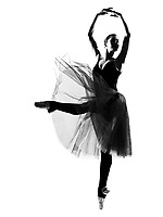 one beautiful caucasian woman ballet dancer dancing leap jumping full length on studio isolated white background
