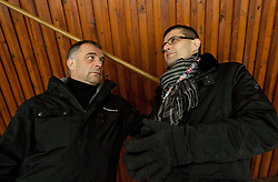 Coach Matjaz Kopitar and Matjaz Rakovec, president of HZS  during the ice hockey match between National teams of Croatia (CRO) and Slovenia (SLO) at 2011 IIHF World U20 Championship Division I - Group B, on December 12, 2010 in Ice skating Arena, Bled, Slovenia.  (Photo By Vid Ponikvar / Sportida.com)