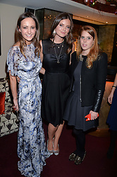 Left to right, LAVINIA BRENNAN, PRINCESS BEATRICE OF YORK and LADY NATASHA RUFUS ISAACS at a party hosted by Lady Kinvara Balfour, Lavinia Brennan and Lady Natasha Rufus Isaacs to celebrate the Beulah French Sole Collaboration in aid of the UN Blue Heart Campaign, held at George, 87-88 Mount Street, London on 10th December 2013.