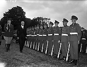 29/09/1960<br /> 09/29/1960<br /> 29 September 1960<br /> New French Ambassador to Ireland. His Excellency, Jacques-Emile Paris presents his credentials to the President at Aras an Uachtarain. Picture shows: the Ambassador inspecting the Guard of Honour after the ceremony accompanied by Lieutenant P. Riordan, 5th Battalion.