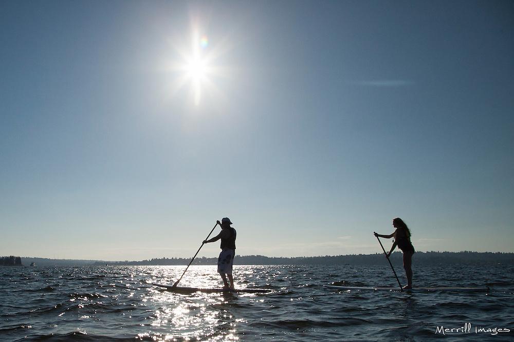 United States, Washington, Kirkland,  two people on stand up paddleboards on Lake Washington