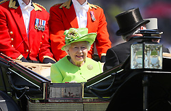 Queen Elizabeth II in her carriage during day one of Royal Ascot at Ascot Racecourse.
