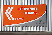 Barratt Homes advertising poster offering First Time Buyer Incentives in an effort to boost sales.
