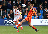 Blackpool's Matty Virtue clears away from Luton Town's Luke Berry<br /> <br /> Photographer David Shipman/CameraSport<br /> <br /> The EFL Sky Bet League One - Luton Town v Blackpool - Saturday 6th April 2019 - Kenilworth Road - Luton<br /> <br /> World Copyright © 2019 CameraSport. All rights reserved. 43 Linden Ave. Countesthorpe. Leicester. England. LE8 5PG - Tel: +44 (0) 116 277 4147 - admin@camerasport.com - www.camerasport.com