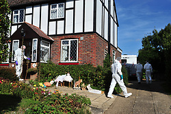 © Licensed to London News Pictures. 29/09/2018<br /> HADLOW, UK.<br /> Police forensics officers at 26 Carpenters Lane.<br /> A murder investigation has been launched in Hadlow,Kent after the deaths of two women at Carpenters Lane. A 28 year old man has been arrested on suspicion of murder after three people suffered serious injuries. Police forensic officers are at the scene inside two properties 26 and 24 Carpenters Lane.<br /> Photo credit: Grant Falvey/LNP