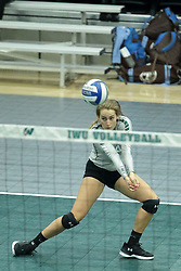 23 September 2017:  Jessica McCall during an NCAA womens division 3 Volleyball match between the Tufts Jumbos and the Illinois Wesleyan Titans in Shirk Center, Bloomington IL