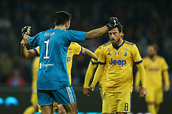 December 1, 2017 - Naples, Italy - Gianluigi Buffon celebrating with Claudio Marchisio of Juventus during the Serie A match between SSC Napoli and Juventus at Stadio San Paolo on December 1, 2017 in Naples, Italy. (Credit Image: © Matteo Ciambelli/NurPhoto via ZUMA Press)
