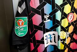 Carabao Cup badge on the Bristol City shirt - Rogan/JMP - 24/09/2020 - Ashton Gate Stadium - Bristol, England - Bristol City v Aston Villa - Carabao Cup Third Round.