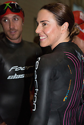 © Licensed to London News Pictures. 27/07/2013. London, UK. Melanie C wears a wet suit about to start the swim at the London Triathlon 2013 at the ExCel centre in Royal Victoria Dock in East London. Photo credit : Vickie Flores/LNP