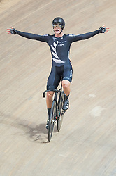 March 2, 2019 - Pruszkow, Poland - Campbell Stewart of New Zealand celebrates winning the gold medal in the Men's Omnium Final on day four of the UCI Track Cycling World Championships held in the BGZ BNP Paribas Velodrome Arena on March 02 2019 in Pruszkow, Poland. (Credit Image: © Foto Olimpik/NurPhoto via ZUMA Press)