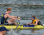Henley on Thames, England, United Kingdom, 3rd July 2019, Henley Royal Regatta, Heat of the Temple Challenge Trophy,  University of Michigan, USA, cox RA LEWIS, makes the calls as the crew move away from the start,  on Henley Reach, [© Peter SPURRIER/Intersport Image]<br /> <br /> 11:00:04 1919 - 2019, Royal Henley Peace Regatta Centenary,
