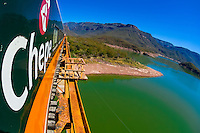 A Chihuahua al Pacifico Railroad train (Chepe) crossing the Chinipas Bridge over the Chinipas River en route from El Fuerte to Copper Canyon, Mexico