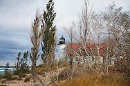 The Historic Point Betsie Lighthouse On An Overcast Lake Michigan Morning, Michigan's Lower Peninsula, USA