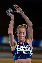 Nadine Broersen in action on shot put during the Dutch Athletics Championships on 14 February 2021 in Apeldoorn