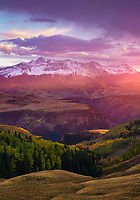 Sunset light and verga during an autumn thunderstorm, Wilson Peak, Telluride, San Juan Mountains, Colorado