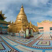 Tiled courtyard at Soon Oo Pon Nya Shin Pagoda. Sitting on top of Nga-pha Hill, Soon Oo Pon Nya Shin Pagoda is one of multiple pagodas and temples in the religious district of Sagaing, near Mandalay. The original pagoda dates to 674.