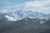 Castle Peak in winter, seen from Gibson Pass Ski Area. Castle Peak is located in the Pasayten Wilderness just south of the canadian Border..Manning Provincial Park. British Columbia