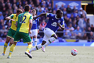 Romelu Lukaku of Everton makes a break. Barclays Premier League match, Everton v Norwich City at Goodison Park in Liverpool on Sunday 15th May 2016.<br /> pic by Chris Stading, Andrew Orchard sports photography.