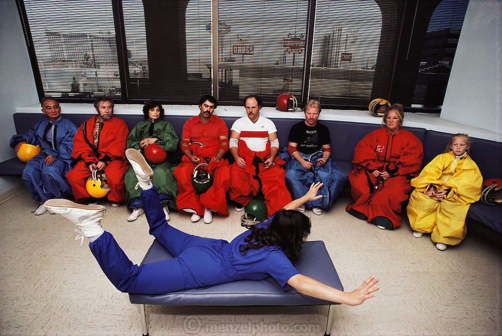 Flyaway skydiving simulator ting class., A vertical wind tunnel propels 'flyers' into the air, simulating free flight., Las Vegas. USA