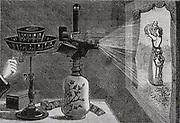 Projecting an image using Reynaud's praxinoscope. Engraving 1884.