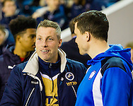 Neil Harris of Millwall and Gary Caldwell of Chesterfield great each other before the Sky Bet League 1 match at The Den, London<br /> Picture by Richard Brooks/Focus Images Ltd 07947656233<br /> 21/02/2017