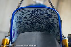 "Charlie Stockwell's blue panhead ""Moonlight"" at the 26th Annual Yokohama Hot Rod and Custom Show 2017 . Yokohama, USA. Saturday December 2, 2017. Photography ©2017 Michael Lichter."