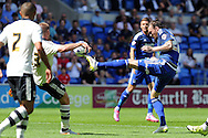 Cardiff city's Scott Malone (r) challenges Fulham's Jamie O'hara. Skybet football league championship match, Cardiff city v Fulham at the Cardiff city stadium in Cardiff, South Wales on Saturday 8th August  2015.<br /> pic by Carl Robertson, Andrew Orchard sports photography.
