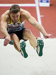 Mathias Brugger of Germany competes in the Heptathlon Long Jump Men on day two of the 2017 European Athletics Indoor Championships at the Kombank Arena on March 4, 2017 in Belgrade, Serbia. Photo by Vid Ponikvar / Sportida