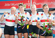 Amsterdam. NETHERLANDS.  GER W4X Gold Medalist: Bow. Annekatrin THIELE, Carina BAER, Julia<br /> LIER and Lisa SCHMIDLA, Gold  Medalist.  Bosbaan Rowing Course. 2014 World Rowing Champions . 14:30:04  Saturday  DATE}  [Mandatory Credit; Peter Spurrier/Intersport-images]
