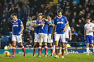 Portsmouth Players Celebrate after Portsmouth Midfielder, Carl Baker (7) makes it 4-0 during the EFL Sky Bet League 2 match between Portsmouth and Mansfield Town at Fratton Park, Portsmouth, England on 12 November 2016. Photo by Adam Rivers.