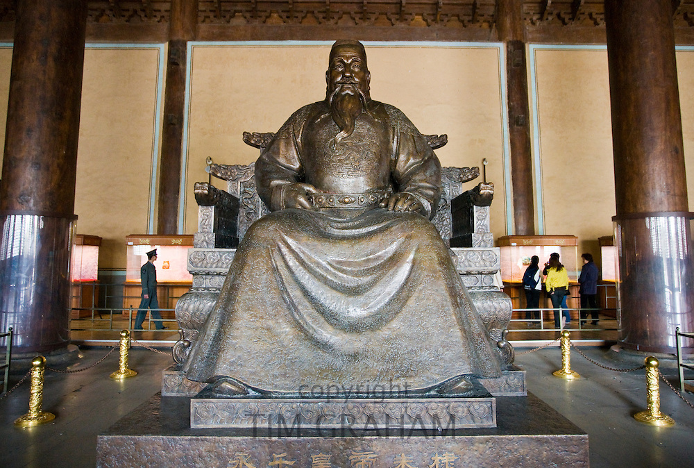 Statue of the Yongle Emperor at the Ming Tombs site, Chang Ling Way, Beijing (Peking), China