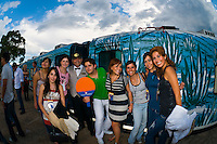 A group of Mexican tourists before the departure of the Tequila Express train (back to Guadalajara) at the train station in the town of Tequila, Mexico