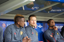 LILLE, FRANCE - Friday, July 1, 2016: Belgium's Simon Mignolet sits on the substitutes bench ahead of the UEFA Euro 2016 Championship Quarter-Final match against Wales at the Stade Pierre Mauroy. (Pic by Paul Greenwood/Propaganda)