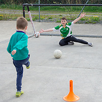 Knockanean NS Student Paddy McGuiness hosts a penalty shoot out at during their Fun Day for Jessies