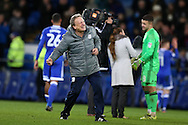 Neil Warnock, the Cardiff city manager celebrates at the final whistle after his team win 1-0. EFL Skybet championship match, Cardiff city v Aston Villa at the Cardiff City Stadium in Cardiff, South Wales on Monday 2nd January 2017.<br /> pic by Andrew Orchard, Andrew Orchard sports photography.