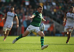 London Irish's Paddy Jackson kicks a ball clear during the Gallagher Premiership match at the Brentford Community Stadium, London. Picture date: Saturday October 9, 2021.