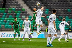 Marko Cosic of NK Rudar Velenje vs Brkic Goran of NK Olimpija Ljubljana during football match between NK Olimpija Ljubljana and NK Rudar Velenje in 25rd Round of Prva liga Telekom Slovenije 2018/19, on April 7th, 2019 in Stadium Stozice, Slovenia Photo by Matic Ritonja / Sportida