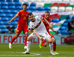 CARDIFF, WALES - Sunday, September 6, 2020: Wales' Joseff Morrell (R) and Bulgaria's Todor Nedelev during the UEFA Nations League Group Stage League B Group 4 match between Wales and Bulgaria at the Cardiff City Stadium. (Pic by David Rawcliffe/Propaganda)