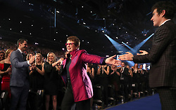 Billie Jean King walks upon to receive her Life Time Achievement Award during the BBC Sports Personality of the Year 2018 at Birmingham Genting Arena.