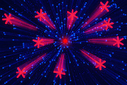 Bright red jacks explode from a similarly colored sun leaving motion trails henna them as the streak across a background of bright blue chips.Black light