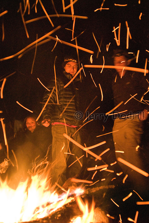 Climbers gather around the fire at Camp Dingus on Sonora Pass, Stanislaus National Forest, California.