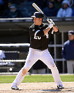 CHICAGO - APRIL 09:  J.B. Shuck #20 of the Chicago White Sox bats against the Cleveland Indians on April 9, 2016 at U.S. Cellular Field in Chicago, Illinois.  The White Sox defeated the Indians 7-3.  (Photo by Ron Vesely)  Subject: J.B. Shuck