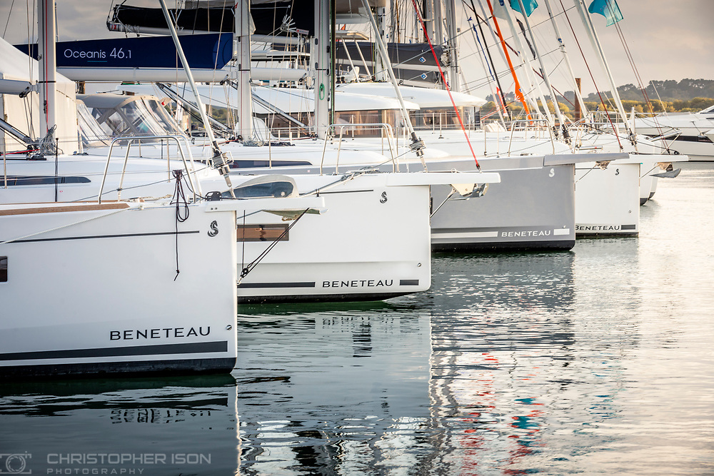 Beneteau yachts at the Southampton International Boat Show.<br /> Shot for Ancasta International.<br /> Picture date: Friday September 10, 2021.<br /> Photograph by Christopher Ison ©<br /> 07544044177<br /> chris@christopherison.com<br /> www.christopherison.com<br /> <br /> IMPORTANT NOTE REGARDING IMAGE LICENCING FOR THIS PHOTOGRAPH: This image is supplied to the client under the terms previously agree. No sales are permitted unless expressly agreed in writing by the photographer.