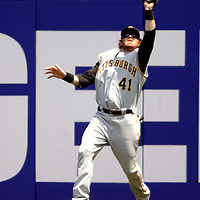 01 June 2007:  Pittsburgh Pirates right fielder Ryan Doumit (41) leaps and makes a catch in the 4th inning on a line drive hit by Washington Nationals center fielder Ryan Church.  The Pirates defeated the Nationals 3-2 at RFK Stadium in Washington, D.C.  ****For Editorial Use Only****
