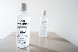 Anti-bacterial gel to clean hands in Mexico City, Mexico