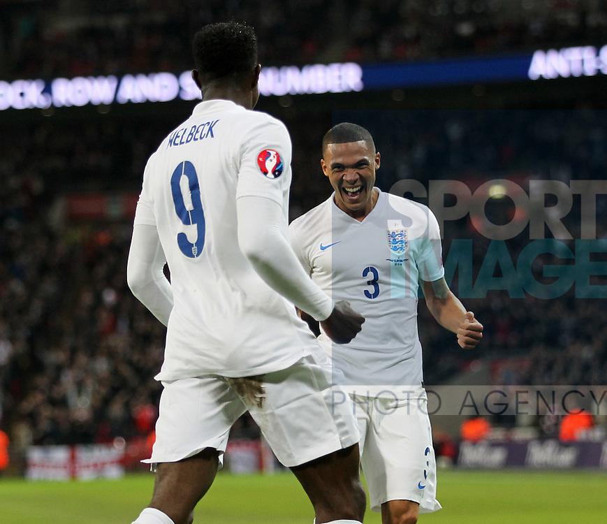 England's Kieran Gibbs celebrates with goalscorer Danny Welbeck<br /> <br /> - International European Qualifier - England vs Slovenia- Wembley Stadium - London - England - 15th November 2014  - Picture David Klein/Sportimage
